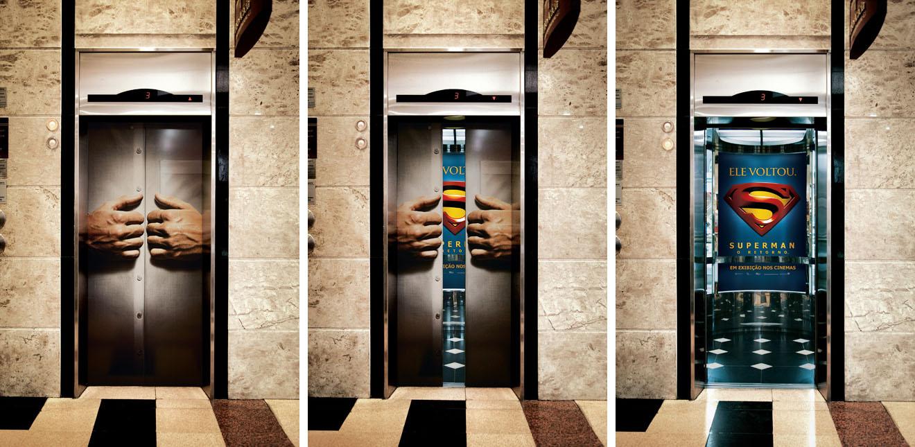 ambient-marketing-elevator-ascenseur-alternatif-super-man-movie-theater