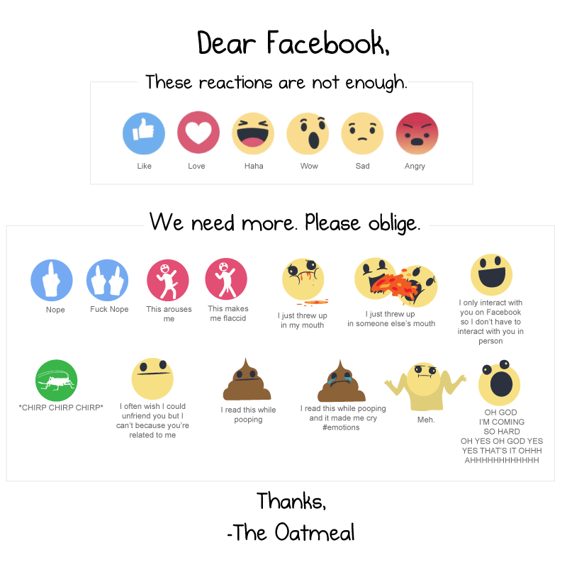 oatmeal facebook reactions