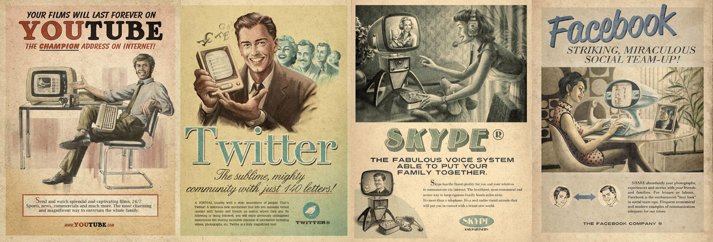 redes sociales vintage
