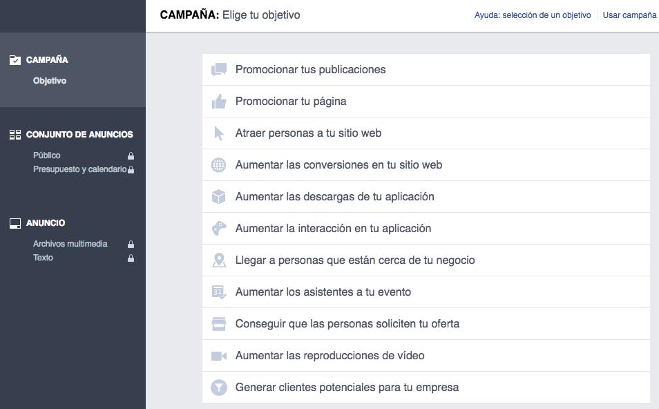 objetivos campañas facebook ads