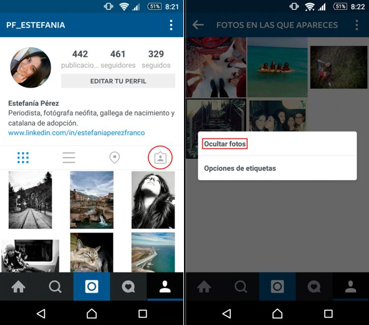 instagram ocultar fotos