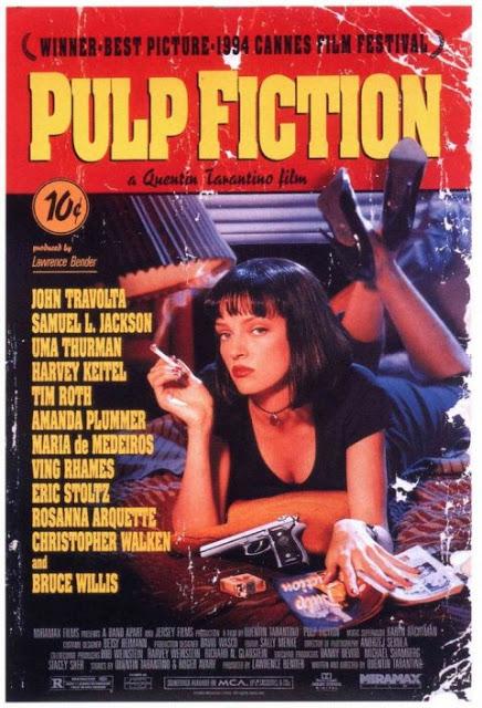 Pulp Fiction. Fuente: El condensador de Fluzo http://elcondensadordefluzo.blogs.fotogramas.es/2013/05/13/la-historia-del-cartel-de-pulp-fiction/